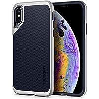 【Spigen】 スマホケース iPhone XS ケース/iPhone X ケース 5.8インチ 対応 二重構造 米軍MIL規格取得 耐衝撃 ネオ・ハイブリッド 063CS24920 (サテン・シルバー)