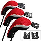 Andux ゴルフ ウッドドライバー ヘッドカバー 交換可能な番号タグ付き 3個セット
