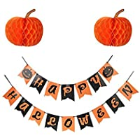 Parlie Happy Halloween Banner with Pumpkin Honeycombs Halloween Party Supplies Parlie 15pcs Party Decors and Supplies Set includes Happy Halloween Decorations [並行輸入品]