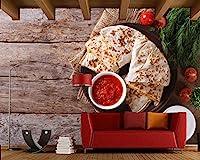LJJLM パンケーキトマトディル木の板食品3D壁紙壁画ダイニングルームリビングルームキッチンレストランバーカフェ-420X280cm