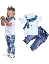 Aijoo ??子供服 男の子 トップスパンツ 丸首 半袖tシャツ パンツ ベビー服 赤ちゃん服 ボーイズ 夏服 セットアップ 可愛い 花柄 人気 紳士シャツ セット服 スカーフ 3セット