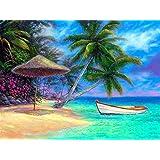 Diyの油絵子供のためのデジタル油絵大人初心者16x20インチ、海沿いのボート--クリスマスの装飾ホームインテリアギフト (フレームなし)