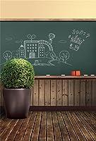 aofoto 6x 8ft教室黒板ブラックボード写真バックドロップ背景古い木製床キッド少年少女子Portrait学校Photoshoot Studio Propsビデオドレープ壁紙