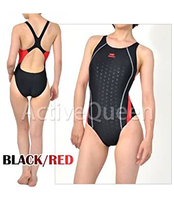 【Yingfa】レディース ワンピース競泳水着 M ブラック/レッド