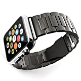 TEVINA 腕時計バンド アップルウォッチベルド iwatch バンド ステンレス製 42MM プレミアム品質 バンド調整簡単セット工具付き ブラックPB201
