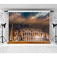 EARVO 7x5フィート 古代ローマのコロシアム背景 独特の建築 イブニング風景 写真撮影用背景 テーマパーティー写真スタジオ小道具 EALX006