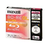 maxell データ用 BD-RE DL 50GB 2倍速対応 インクジェットプリンタ対応ホワイト(ワイド印刷)5枚 5mmケース入BE50PWPA.5S