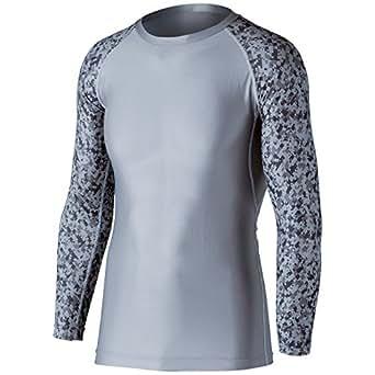 おたふく手袋 ボディータフネス 冷感・消臭 パワーストレッチ 長袖クルーネックシャツ JW-623 グレー×迷彩 3L