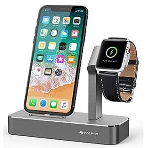 iVAPO Apple Watch/iPhone 充電スタンド 2in1充電スタンド Apple Watch 3 充電クレードル 多機種対応 アルミニウム製 Apple Watch Series 3/2/1、iPhone X、iPhone8/8 Plus、iPhone7/7 Plus、Samsung、Sony等のスマートフォンとアップルウォッチに対応 全3色(グレー)
