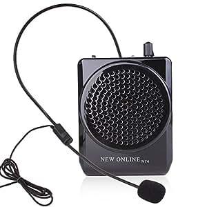 New Online N74 ハンズフリー 充電式ポータブル拡声器 日本語説明書付属 ブラック