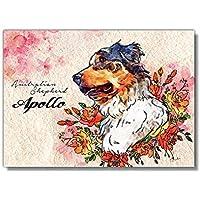 Printon 愛犬/猫のオーダーメイド 絵 F3号パネル (230x320x15mm) (バックピクチャー 花柄)