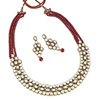 Aheli Bollywood Style Kundan Red Bead Necklace Earring Set Indian Ethnic Traditional Jewelry