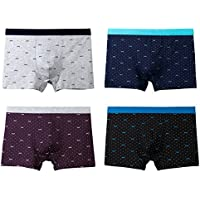 Qianbeili.vk Men's Underwear Soft Cotton Breathable Loose Plus Size Boxer Briefs Shorts 4Pack