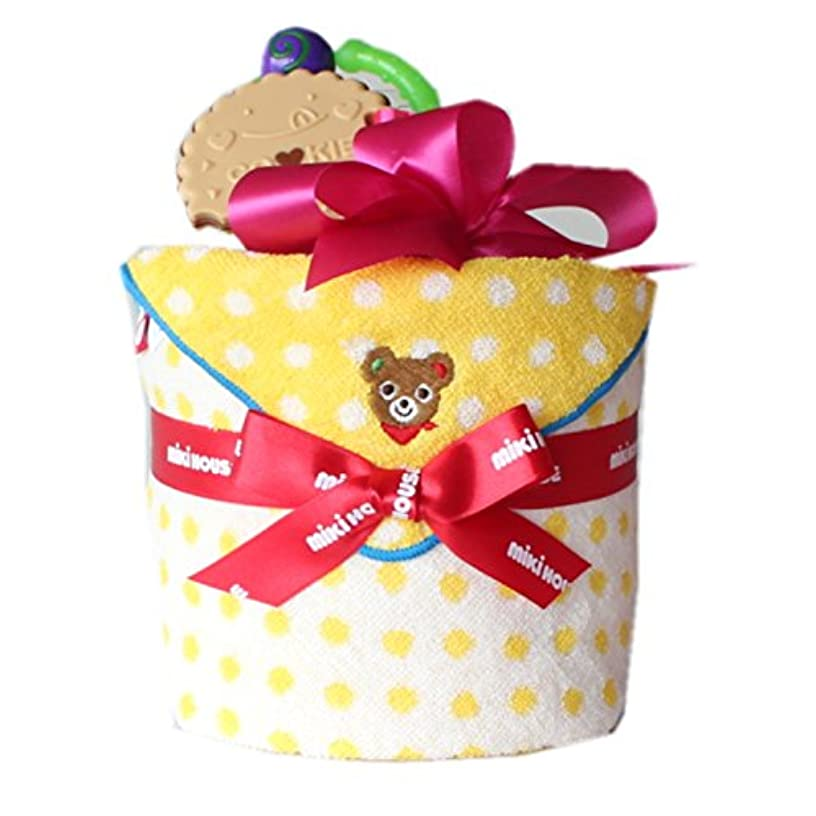 大西洋沈黙輪郭ミキハウス1段おむつケーキ 黄色ドットミニタオル (パンパースM, 女の子用)