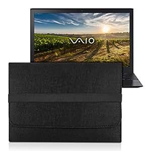 kwmobile Sony Vaio Pro 13用ラップトップケース フェルトスリーブ ノートブックケース 保護ケース ラップトップケース 内ポケット付き 黒色