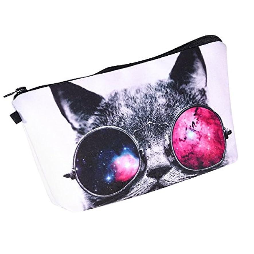 放散するフィードバックミネラル化粧ポーチ メイクポーチ コスメポーチ 猫柄 カワイイ
