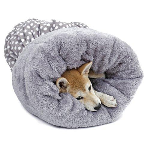 PAWZ Road 洗える ペット用 ベッド/クッショントンネル 寝袋 多用 水玉 かわいい ふわふわ 四季通用 グレー