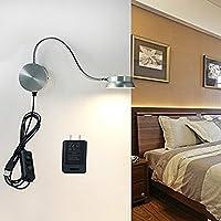 IREVOOR 6Wアルミニウム製ベッドサイドランプ LED壁掛照明ライト グースネックスポットライト360°回転可能4モード調光可能 読書ライト目に優しい USB充電対応 (シルバー)