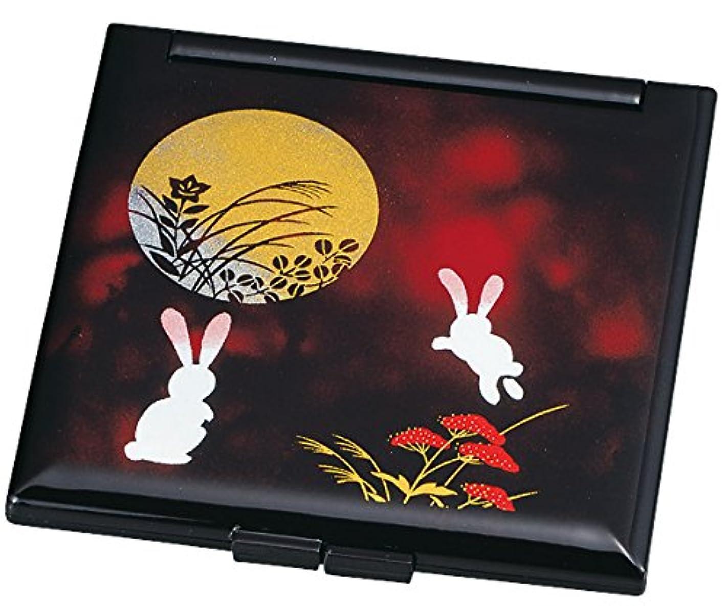 バイバイ軍隊リネン中谷兄弟商会 山中漆器 コンパクトミラー 別甲 月うさぎ33-0408