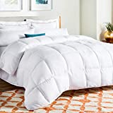 Linenspa All-Season Down Alternative Quilted Reversible Microfiber Comforter, Queen Size, White