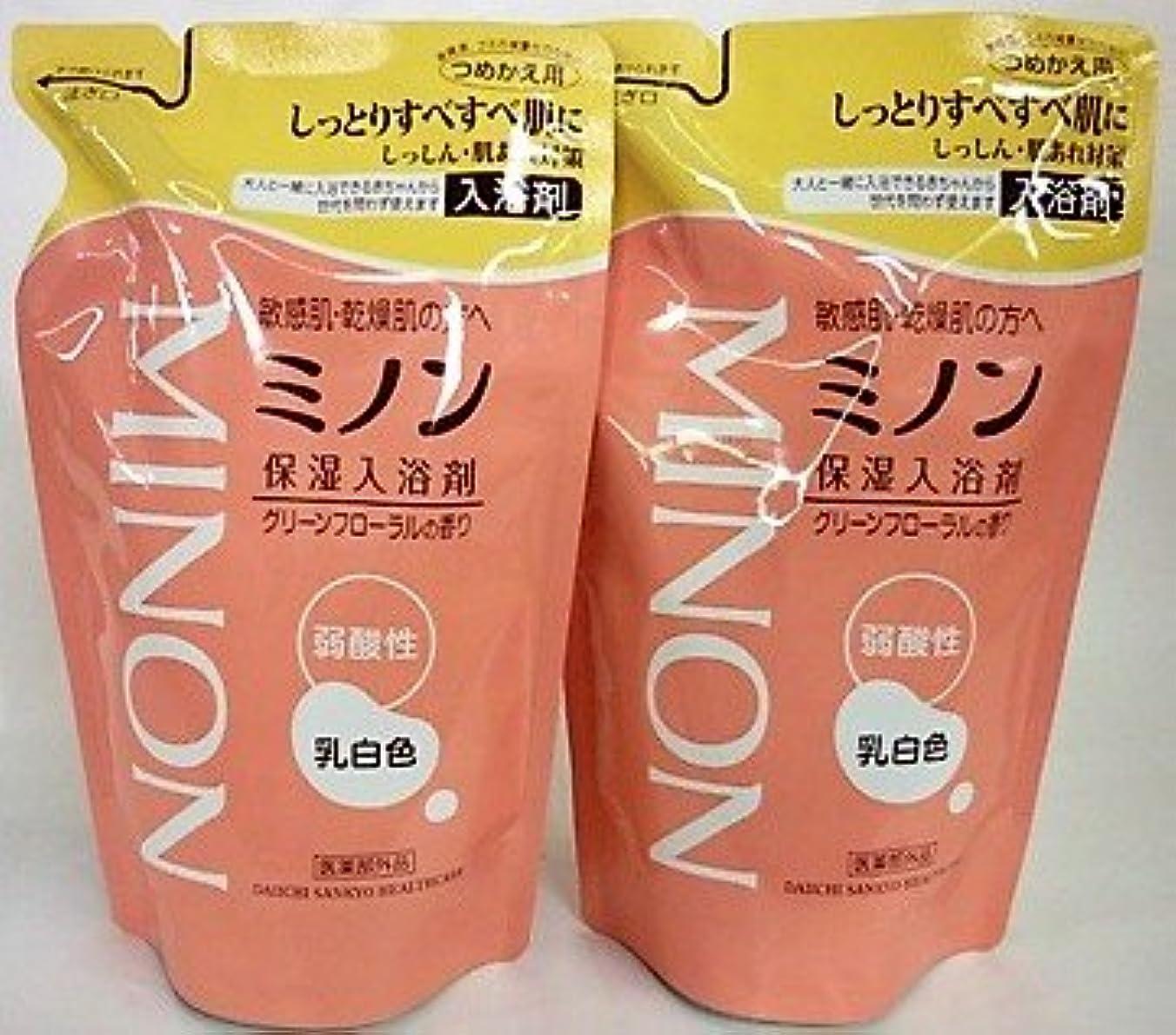 哀れな純度野心的[2個セット]ミノン 薬用保湿入浴剤 詰替 400mL入り×2個