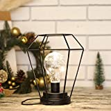 Diamond Metal Cage Table Lamp Battery Powered,Cordless Lamp With LED Edsion Style Bulb for Weddings,Parties,Patio,Events for