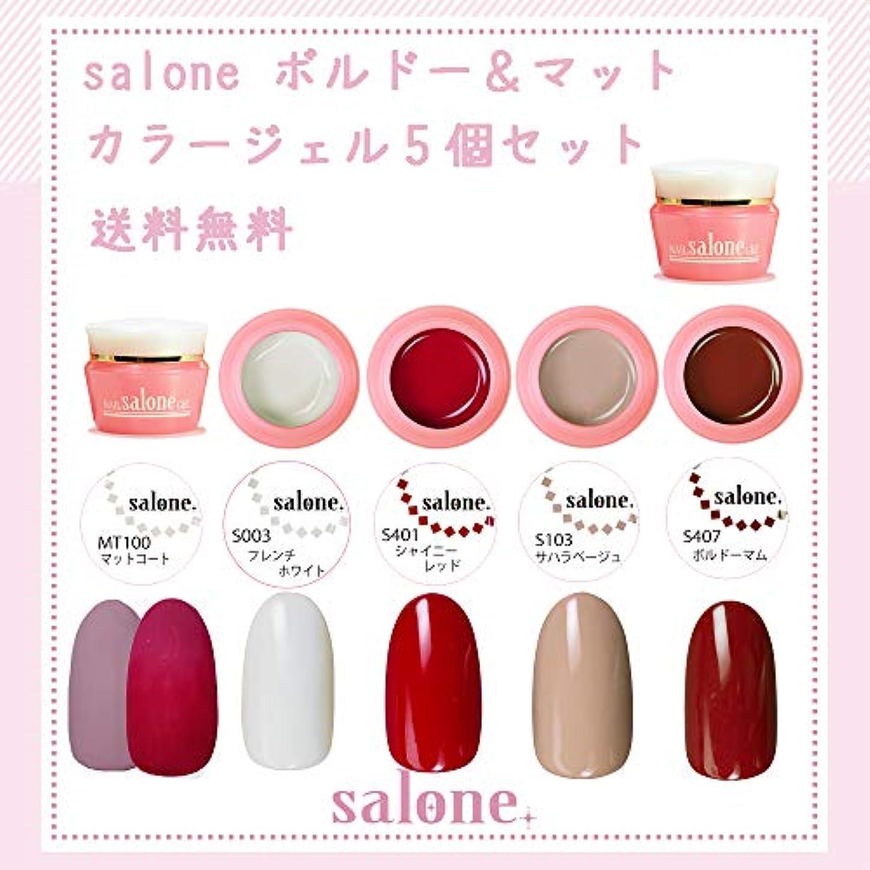 【送料無料 日本製】Salone ボルドーマットカラー カラージェル5個セット ネイルのマストカラーボルドー系にマットトップ