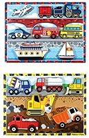 Melissa & Doug Chunky Puzzles 3-Pack Combo Bundle - Vehicles, Construction & Fire Truck Puzzles By Melissa & Doug [並行輸入品]