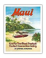 マウイ島、ハワイ - ユナイテッド航空 - ハワイのアウトリガーカヌー - ビンテージなハワイの旅行のポスター によって作成された ホレンベック c.1970s - アートポスター - 28cm x 36cm
