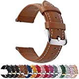12 Colors for Quick Release Leather Watch Band, Fullmosa Axus Genuine Leather Watch Strap 24mm Brown