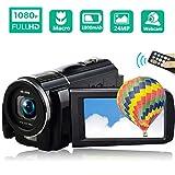 ビデオカメラ デジタルビデオカメラ 高感度・高画素 ビデオカメラ2400万画素 HD1080P 16倍デジタルズーム 3インチ液晶ディスプレイ 270度回転スクリーン 手ブレ補正 37MMレンズ搭載可 フィルライト付き リモコン付き
