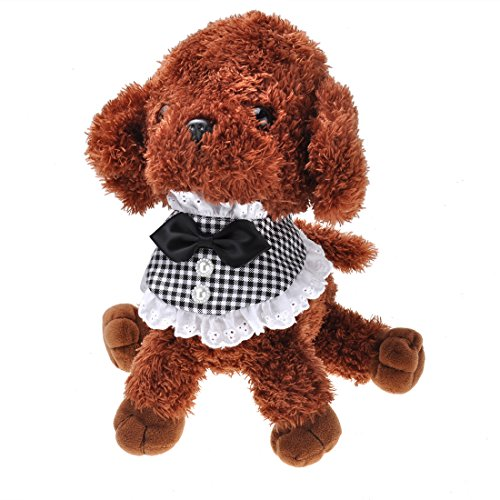 ペット唾液タオル 調節可能 バンダナ スカーフ 首輪 装飾 犬用 子犬用 小型犬 中型犬 猫用 かわいい おしゃれ Milkee (XS, BK)