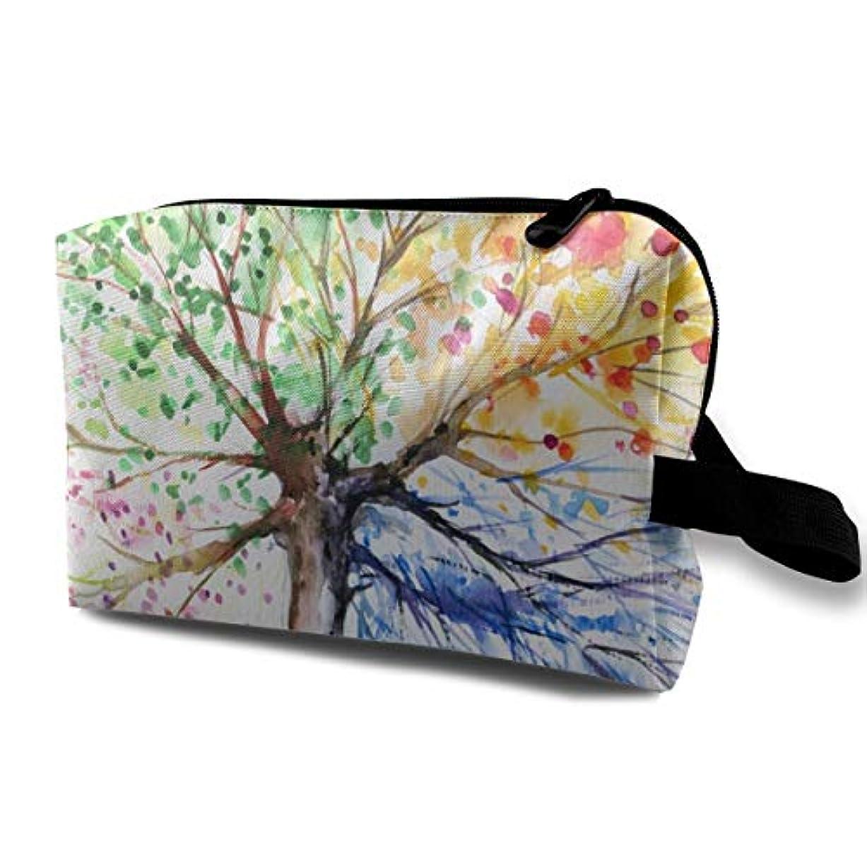 ファイアル重要主張Colorful Tree Four Seasons 収納ポーチ 化粧ポーチ 大容量 軽量 耐久性 ハンドル付持ち運び便利。入れ 自宅?出張?旅行?アウトドア撮影などに対応。メンズ レディース トラベルグッズ