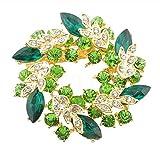 キラキラ 大人 かわいい リース風 ブローチ エメラルドグリーン クリスマス