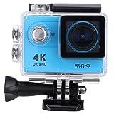4K スポーツカメラ 2.0インチLCDスクリーン Wifi機能搭載 H.264ビデオ圧縮 170度広角レンズ 30M 防水ケース付き アクションカメラ(ブルー)
