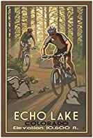 NorthwestアートMall Echo Lake Colorado Two Mountain Bikers Framedアートプリントbyポール・レイトン。 24 x 36 inch PB-5519 D