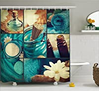 (180cm W By 190cm L, Multi 3) - Spa Decor Shower Curtain by Ambesonne, Blue Themed White Daisies Scents Towels and Incense Artwork Collage, Fabric Bathroom Decor Set with Hooks, 190cm Long, Blue Brown and White