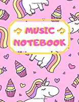 "Music Notebook: Cute Unicorn Pattern Design - Blank Sheet Music - 100 Pages, 8.5"" × 11"""
