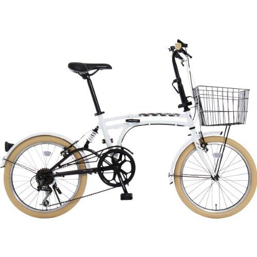 DOPPELGANGER(ドッペルギャンガー) 折りたたみ自転車 m6シリーズ m6-WHITE 20インチ パラレルツインチューブフレーム採用モデル かご・泥除け付き