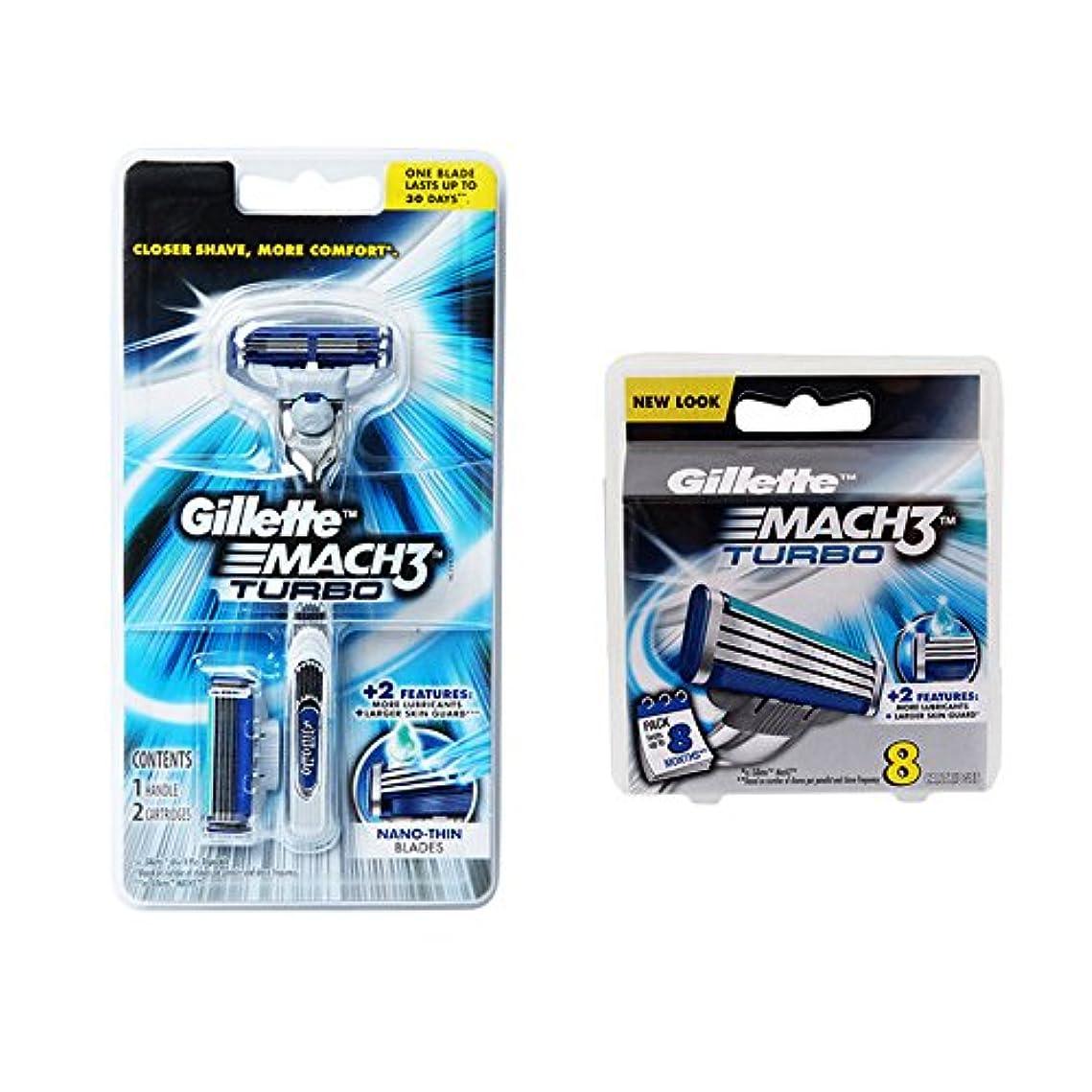 とにかく災害調べるGillette MACH3 Turbo カミソリ1+ブレード10カートリッジBLADES [並行輸入品]