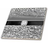 """3dローズAnne Marie Baugh–Glitter and Chic–ブラックandホワイトストライプデジタルダイヤモンド、シルバーグリッターデザイン–タイル 6 x 6"""" ブラック ct_267800_2"""