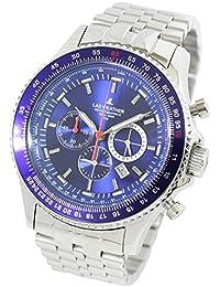 [ラドウェザー]メンズ腕時計 スイス製トリチウム クロノグラフ 回転ベゼル 100m防水 夜行インデックス 時計 lad031 (ブルー)