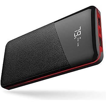 モバイルバッテリー 25000mAh 大容量 【PSE認証済】急速充電 2USB出力ポート LCD残量表示 iPhone/iPad/Android機種対応(レッド)