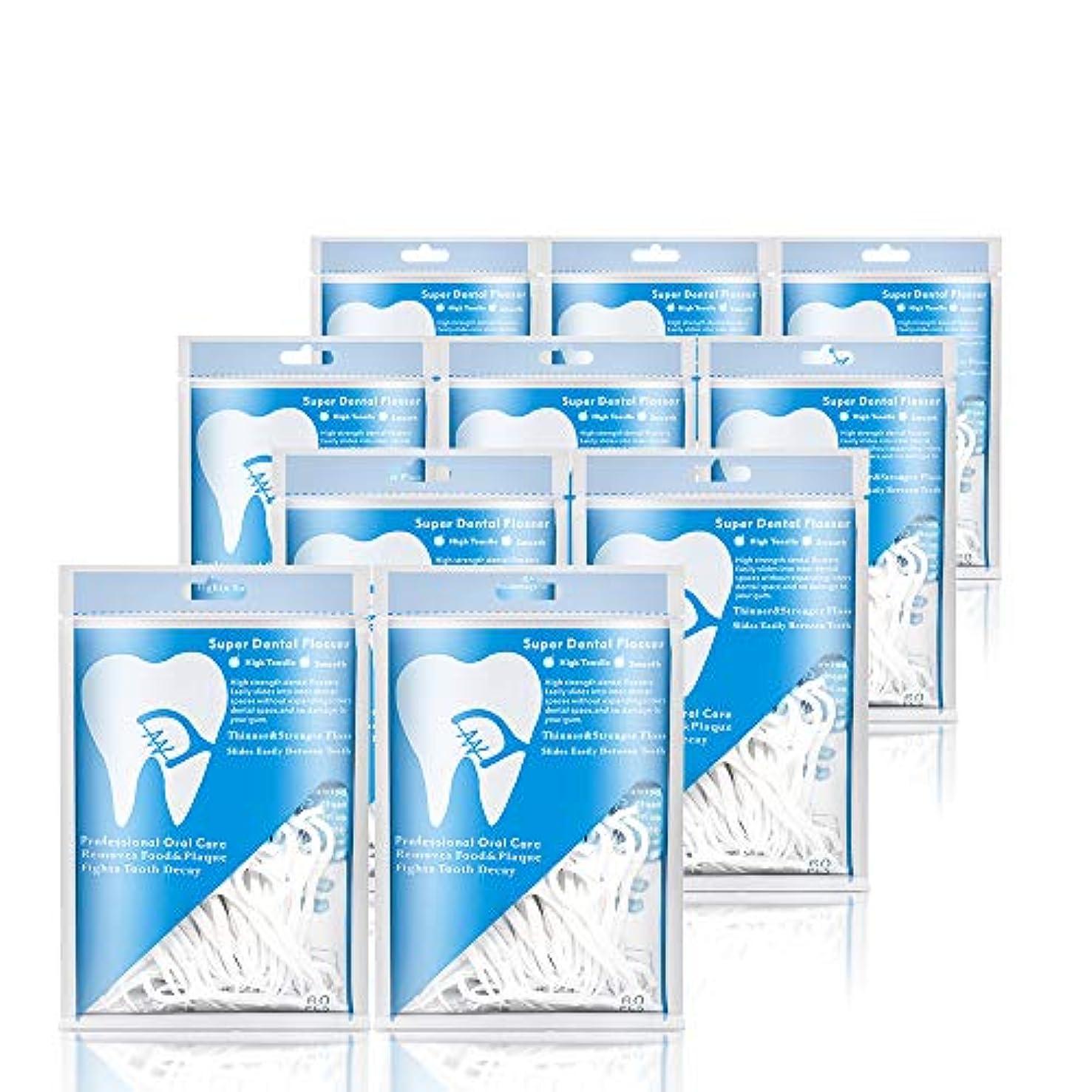 広い慈善インゲン糸ようじ フロス&デンタルフロス ピック 狭い 細い 歯周病の予防 10個、合計600本入(あわせ買い)