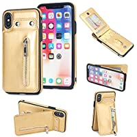 Happon iPhone X iPhone Xs Case,聞く Retro Multifunction Leather Wallet Case Cover [ Kickstand ] PU Leather Wallet Case with ID & Credit Card Slot Compatible with iPhone X iPhone Xs