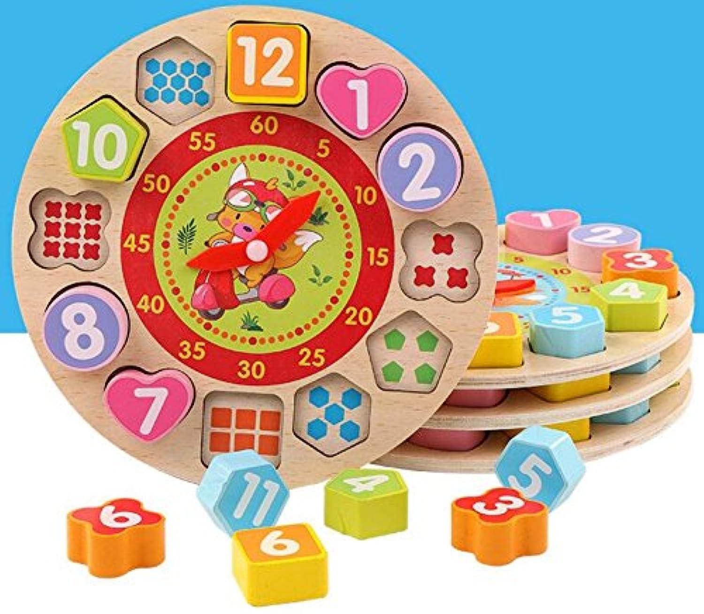 HuaQingPiJu-JP 愛らしい教育木製時計玩具アーリーラーニングタイムナンバーシェイプ子供のための色の動物の認知玩具(モーター)