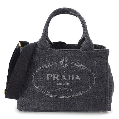(プラダ)PRADA トートバッグ 1BG439 AJ6 F0002/DENIM NERO 2WAY ショルダーバッグ デニム ブラック [並行輸入品]