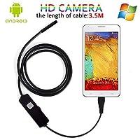 Android内視鏡カメラ、USB顕微鏡5.5MMレンズミニボアスコープHD内視鏡検査&車テストカメラwithミラー&フック(3.5m/11.5ft)