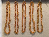 5 Baltic Amber Necklace wholesale lot bulk FIVE Necklaces Maximum Effective Baltic Amber Teething Necklace Honey Infant Baby Babies Toddler Bub Fever Drooling Inflamation Colic Reflux Eczema Aches and Pains Diaper Rash Growing Pains Cold Symptoms Round Oval Design Therapeutic Holistic Natural Organic GERD Reflux Colic fever Brown Yellow by Baltic Essentials