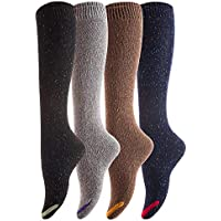 Lovely Annie Women's 4 Pairs Pack Knee High Cotton Boot Socks 6-9
